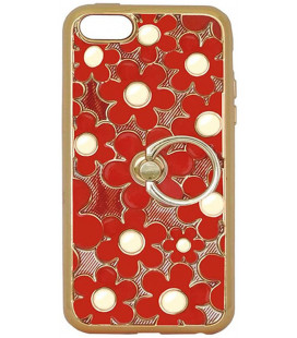 Силикон iPhone 5 red Flowers Finger holder