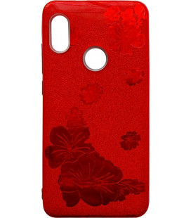 Силикон Xiaomi Redmi Note5/5Pro red Glitter Flowers 3D